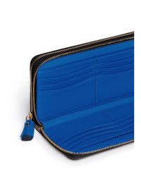 Anya Hindmarch - Blue 'hadlow' Double Compartment Leather Continental Wallet - Lyst