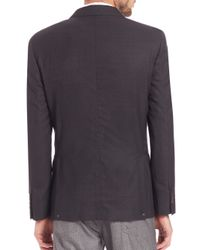 Brunello Cucinelli - Gray Double-breasted Hopsack Blazer for Men - Lyst