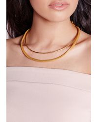 Missguided - Metallic Double Layer Simple Choker - Lyst