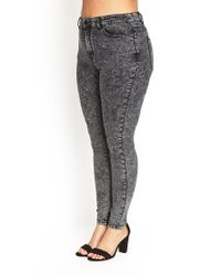 Forever 21 - Black Plus Size High-waisted Acid Wash Jeans - Lyst