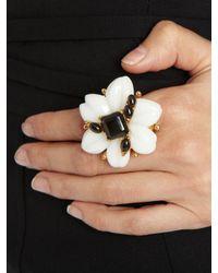 Oscar de la Renta - White Resin & Cabochon Flower Ring - Lyst
