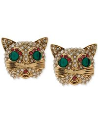 Betsey Johnson | Metallic Gold-Tone Multicolor Crystal Cat Stud Earrings | Lyst