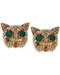 Betsey Johnson - Metallic Gold-Tone Multicolor Crystal Cat Stud Earrings - Lyst