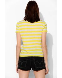 Urban Outfitters - Yellow Uo Stripe Crewneck Tee - Lyst