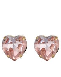 Betsey Johnson - Gray Beaded Heart Pink Heart Arrow Non-matching Stud Earrings - Lyst