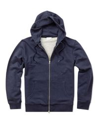 Sunspel - Blue Men's Loopback Cotton Hoody With Zip Front for Men - Lyst