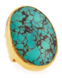 Gurhan | Metallic 24k Gold Large Turquoise Oval Ring Size 6 | Lyst