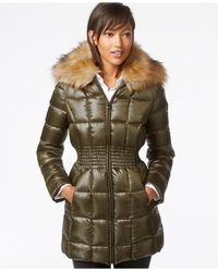 Laundry by Shelli Segal | Green Faux-fur-collar Puffer Down Jacket | Lyst