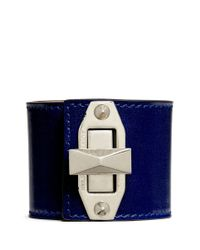 Alexander McQueen | Blue Bridge Twist Lock Wide Leather Bracelet | Lyst
