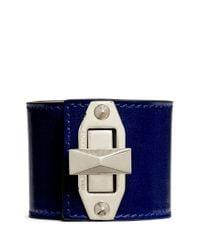 Alexander McQueen - Blue Bridge Twist Lock Wide Leather Bracelet - Lyst