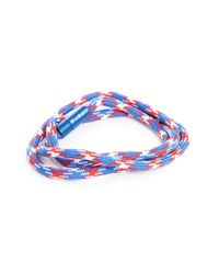 Tateossian   Blue And Red Notting Hill Double Bracelet In Aluminium Cord 59 Cm for Men   Lyst