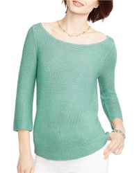 Lauren by Ralph Lauren | Green Cropped-sleeve Knit Sweater | Lyst
