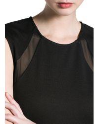 Mango - Black Tulle Panel Dress - Lyst