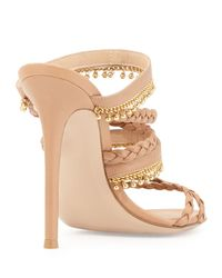 Gianvito Rossi - Natural Braided Leather Sandal With Beaded Fringe - Lyst