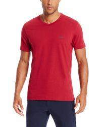 BOSS Green - Red 'teevn' | Cotton V-neck T-shirt for Men - Lyst