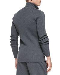 Dolce & Gabbana - Gray Ribbedknit Zipfront Sweater for Men - Lyst