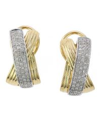 Effy | Metallic Doro Diamond, 14k Yellow And White Gold Earrings | Lyst
