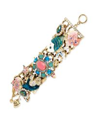 Betsey Johnson | Metallic Goldtone Sea Life Charm Toggle Bracelet | Lyst
