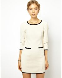 Ganni - White Textured Dress With Contrast Trim - Lyst
