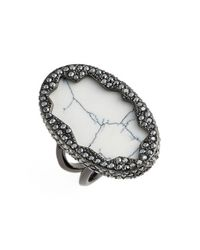 House of Harlow 1960 | Black 1960 'tanga Coast' Cocktail Ring - Gunmetal/ Howlite | Lyst