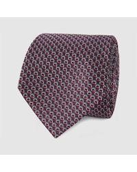 Gucci - Brown Micro Horsebit Pattern Silk Tie for Men - Lyst