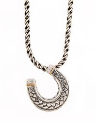 Effy - Metallic Sterling Silver Necklace With 18 Kt. Gold And Diamond Horseshoe Pendant - Lyst