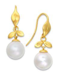 Majorica | Metallic 18K Gold Vermeil Over Sterling Silver Organic Man-Made Pearl Leaf Drop Earrings | Lyst