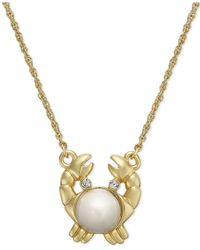 kate spade new york | Metallic 12k Gold-plated Imitation Pearl Crab Pendant Necklace | Lyst
