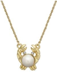 Kate Spade | Metallic 12k Gold-plated Imitation Pearl Crab Pendant Necklace | Lyst