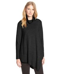 Eileen Fisher | Black Poncho Style Merino Jersey Sweater | Lyst