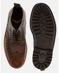 Foot The Coacher - Brown Fred Commando Brogue Boots for Men - Lyst