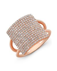 Anne Sisteron | Pink 18kt Rose Gold Diamond Square Ring | Lyst