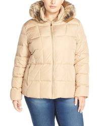 Calvin Klein | Natural Quilted Faux Fur-Trimmed Jacket  | Lyst