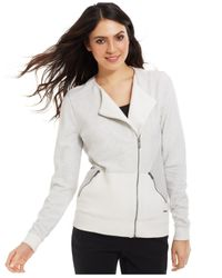Calvin Klein Jeans - White Long-Sleeve Moto Jacket - Lyst
