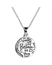 "Aeravida - Gray ""believe\"" Inspirational Message .925 Sterling Silver Necklace - Lyst"