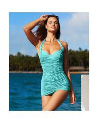 DKNY - Blue Halter Shirred Swim Dress - Lyst