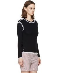 Thom Browne - Blue Navy Fringed Waffle Knit Pullover - Lyst