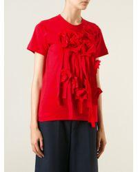Comme des Garçons - Red Rose Appliqué T-Shirt - Lyst