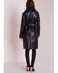 Missguided - Faux Leather Trench Coat With Shearling Collar Black - Lyst