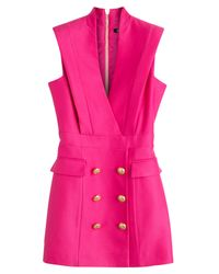 Balmain | Pink Crepe Tuxedo Dress | Lyst