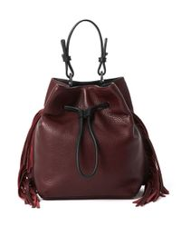 Kenneth Cole | Purple Fringe Leather Bucket Bag | Lyst