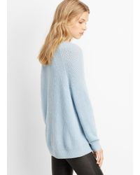 Vince - Blue Wool Cashmere Directional Rib Crew Neck Sweater - Lyst