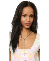 Rebecca Minkoff - Metallic Pave Horn Necklace - Silver/Black - Lyst