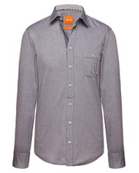 BOSS Orange - Blue Patterned Slim-fit Shirt In Cotton 'eslime' for Men - Lyst