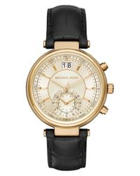 Michael Kors - Black 'sawyer' Leather Strap Watch - Lyst
