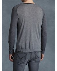 John Varvatos | Gray Cotton Color Blocked Henley for Men | Lyst