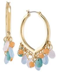 Carolee - Multicolor Gold-tone Multi-stone Click Hoop Earrings - Lyst