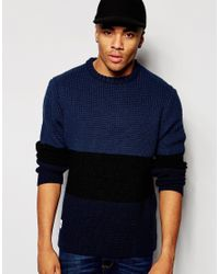 Native Youth | Blue Waffle Stitch Panel Sweater for Men | Lyst