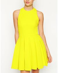 ASOS - Yellow Self Stripe Panelled Full Skirt Halter Dress - Lyst