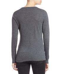 Lord & Taylor - Gray Plus Merino Wool Basic V-neck Sweater - Lyst